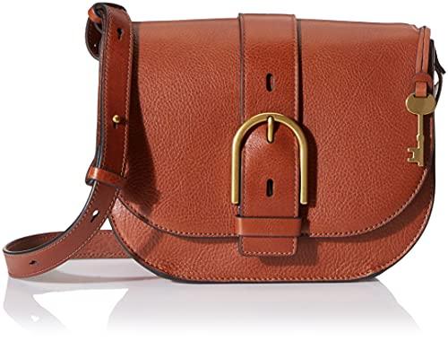 Fossil Women's Wiley Leather Saddle Bag Crossbody Purse Handbag, Brown