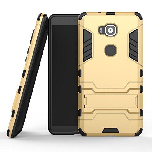 Qiaogle Telefono Case - Shock Proof PC Hibrida Stents Protettiva Case Cover per Huawei G8 / G7 Plus (5.5 Pollici) - HK03 / d'oro