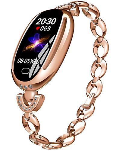 Montre Femme Or Rose Acier Inoxydable Bracelet Cadran Rose Gold Montre Femme ConnectéE avec FréQuence Cardiaque Soins Sains pour Femmes Moniteur De Sommeil Compteur De Calorie Bracelet Intelligent