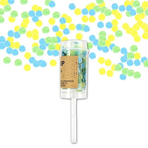 Agatige Confetti Popper, Cañón de Confeti de Papel Multicolor Push Pop para Fiesta, Boda, cumpleaños, graduación(Verde)