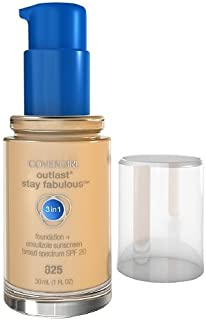 Covergirl Outlast Stay Fabulous 3 in 1 Foundation and Broad Spectrum SPF 20, #825 Buff Beige - 1 Oz, Pack of 2