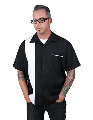 Steady Clothing Men's Single Panel Button Shirt XX-Large Black White