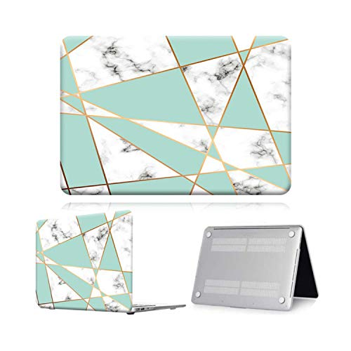 Peach-Girl Protective Case for Macbook Air Pro Retina 11 12 13 15 16 for Laptops with Touch Bar 13.3 A1369 A1466 Pro 16 (A2141) Green Geometric-Pro 13 A1708
