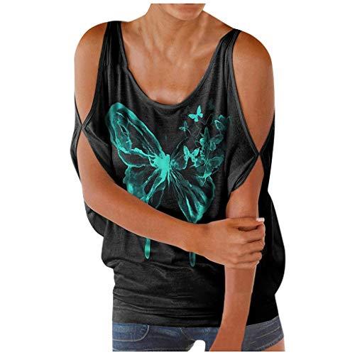 GDJGTA Women Summer Cold Shoulder Tops Crewneck Boho Butterfly Print Tank T-Shirts Graphic Blouse