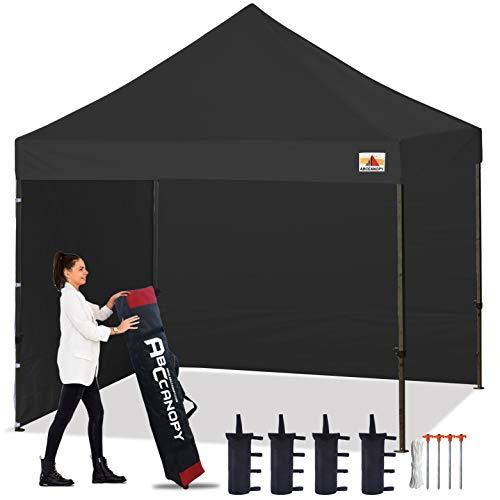 ABCCANOPY Pavillon 3x3m WASSERDICHT Flatpavillon Partyzelt Gartenzelt Festzelt mit 2 Seitenteilen+Handtasche,Schwarz