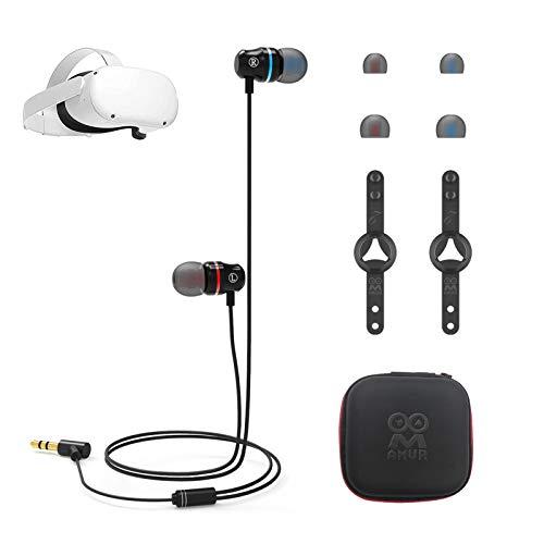 waysad Auriculares de realidad virtual para Oculus Quest 2, auriculares estéreo integrados en la oreja de sonido de 360 grados, supresión de ruido, auriculares de canal único izquierdo y derecho
