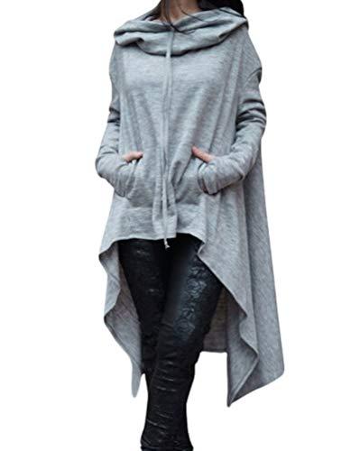Baijiaye Sudadera Vestido Largas Mujer Sudaderas con Capucha Asimétrico Ocasionales Flojas Pullover Hoodie de Manga Larga Tallas Grandes Gris Claro