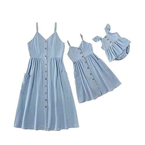 SOTOTOO Mommy and Me Summer Matching Dresses Spaghetti Strap Casual Outfit with Pocket for Mother's Day (Items are Sold Separately) Blue