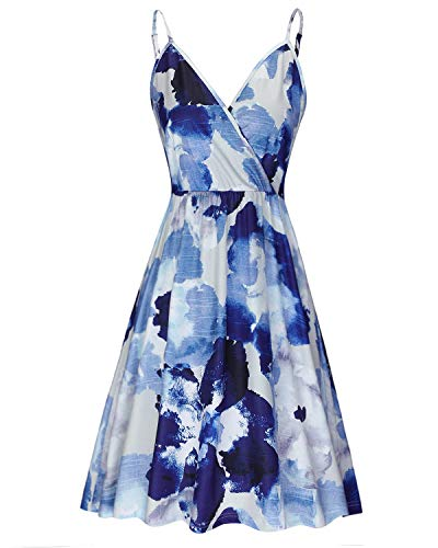 STYLEWORD Women's V Neck Floral Spaghetti Strap Summer Casual Swing Dress with Pocket(Floral11,XL)