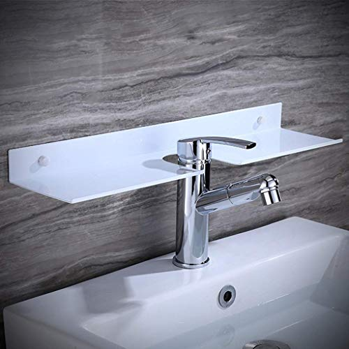 Estantes De Baño Negros Grifo Estante De Ducha Espejo Marco Frontal Espacio Aluminio Baño Blanco Estante En Forma De U Estante De Almacenamiento 50/60 Cm (Color: Blanco, Tamaño: 60Cm)