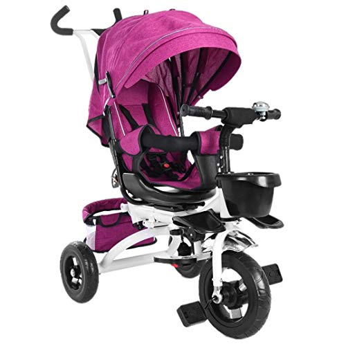 Baby Tricycle 5-in-1 Foldable Steer Stroller, Learning Bike w/Detachable Guardrail, Adjustable Canopy, Safety Harness, Folding Pedal, Storage Bag, Brake, Shock Absorption Design(Rose) - US Direct