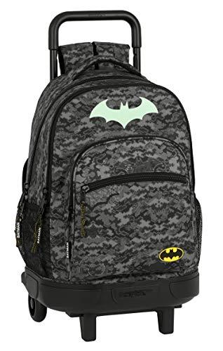 Mochila Safta Escolar con Carro Incluido y Espalda Acolchada de Batman Night, 330x220x450mm, Gris/Negro