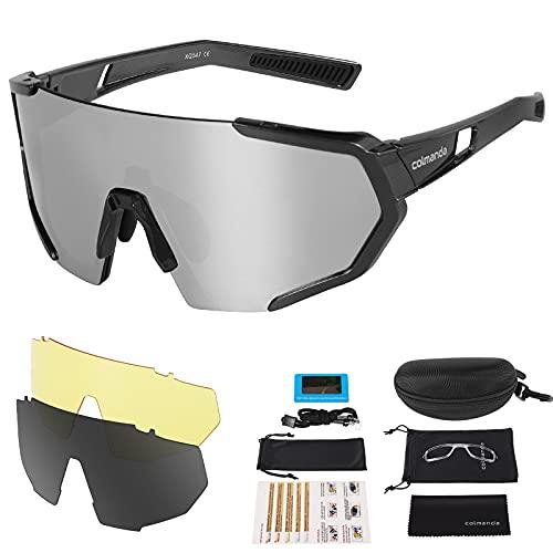 colmanda Gafas de Ciclismo Polarizadas, Gafas Ciclismo UV400, 3 Lentes Intercambiables para Hombres y Mujeres, Gafas Sol Deportivas para Bicicleta, Montaña, Navegar, Pescar, Conducir (gray)
