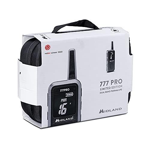 Midland 777 Pro C1365.01 - Juego de 2 Maletas PMR446 y Dispositivos de Radio LPD para Uso Profesional y Privado con Pantalla Digital, hasta 14 Horas de autonomía, Color Negro