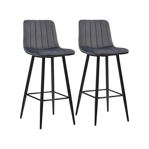 CLIPOP Barhocker-Set aus weichem Samt, Frühstücksstühle mit Rückenlehnen und mattschwarzen Metallbeinen, 2 Stück graue Küchentheke