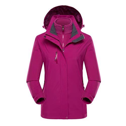 PKTOP Damen Jacke Outdoor Sport Kleidung Zweiteilig Abnehmbare Futter Winddicht Regenjacke Gr. 54, violett