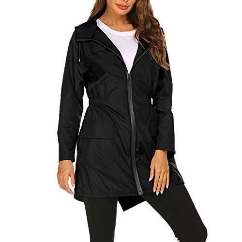 """WSLCN jaqueta longa feminina à prova d'água para uso ao ar livre, leve, à prova de vento, casual, esportivo, casaco, Preto, Bust 44.1"""" (Asian M)"""