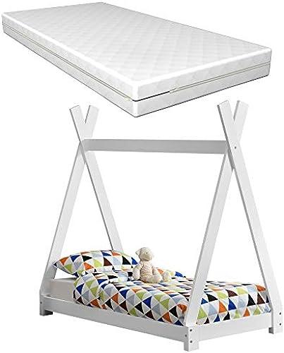 Kinderbett Weißmit Matratze 70x140cm Tipi-Design Kiefernholz Bett Holzbett Hausbett Kaltschaummatratze  -Tex Standard 100 Allergikergeeignet Atmungsaktiv
