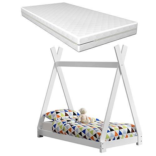 [Neu.Haus] Cama para niños con colchón Espuma fría 70 x 140 cm Adecuado para Personas alérgicas Textil de Confianza Certificado Oeko-Tex 100 Blanco