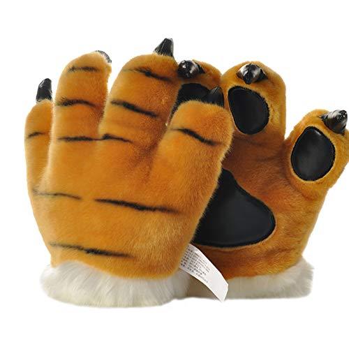 LANFIRE Tierpfote Klaue Hand Handschuhe Fluffy Künstliche Tiger Pfote Handschuhe Leopard claw dinosaurier klaue bär claw Handschuhe Party Bühne Leistung Kostüm Für Kinder Erwachsene (Gelb (Tiger))