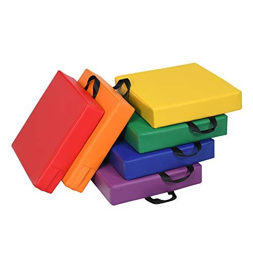 COSTWAY 6er Set Kinder Stuhlkissen mit Griff, Bodenkissen mit Reißverschluss, Sitzkissen Mehrfarbig, Sitzerhöhung Hauptkissen für Kinderzimmer und Kindergarten (Quadrat)