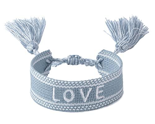 Pulsera de la amistad para mujer y hombre, pulsera de tela, con bordado 'Love',