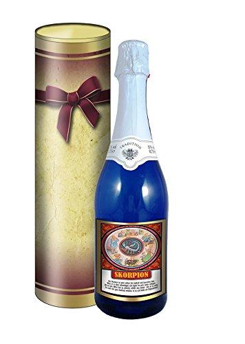 Sternzeichen Skorpion 0,75l Sekt (Mosel) blaue Flasche in der Geschenkdose im Schleifendesign