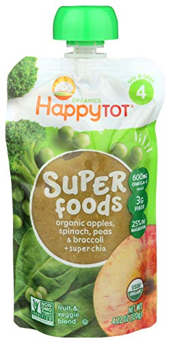 Happy Tot Superfoods Stage 4 Organic Toddler Food Apples Spinach Peas & Broccoli and Super Chia, 4.22 Ounce Pouch Toddler Snack Pouch, Fruit and Veggie Puree, with Omega-3 Fiber Vitamin C