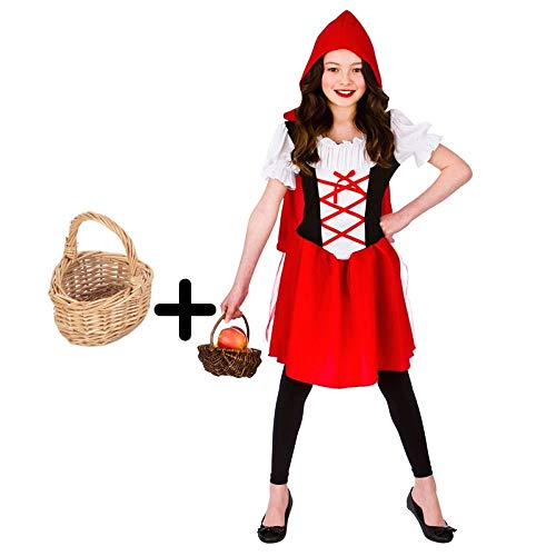 Girls Little Red Riding Hood Costume + Wicker Basket 8 - 10 years