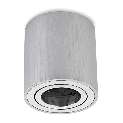 sweet-led Aufbauleuchte Aufbaustrahler Deckenleuchte Aufputz mit GU10 Fassung 230V Alu-gebüstet schwenkbar Deckenleuchte Strahler Deckenlampe Aufbau-lampe Downlight aus Aluminium (Rund-Silber-alu)