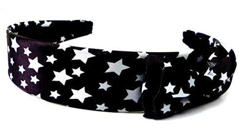 Damen Haar-Reif schwarz Sterne Muster weiss mit Schleife