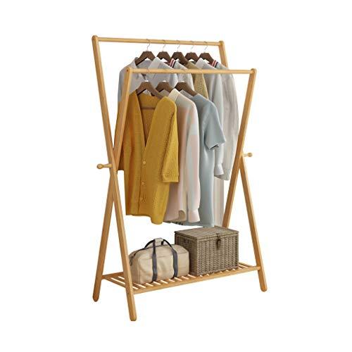 Râteliers multi-usages Porte-Manteau Cintre Plancher Bambou Chambre Simple étendoir Etendoir Salon en Bois Massif Casiers (Color : Beige, Size : 60 * 43 * 155cm)