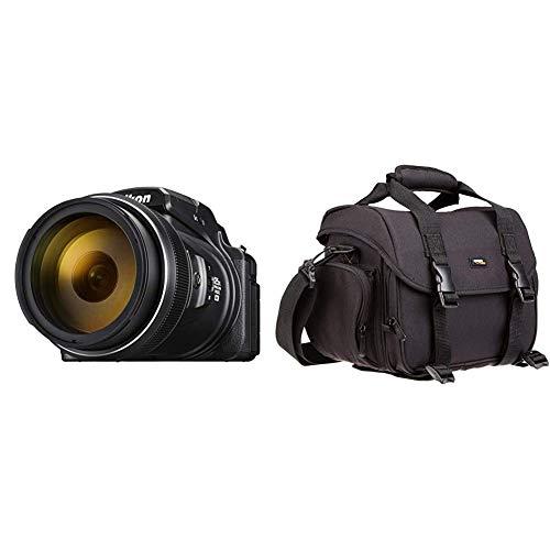 Nikon Coolpix P1000 Digitalkamera (16 Megapixel, 125-Fach optischer Megazoom, 3.2 Zoll RGBW-Display, 4K UHD-Video, WI-Fi) & AmazonBasics - Große L Umhängetasche für SLR-Kamera und Zubehör