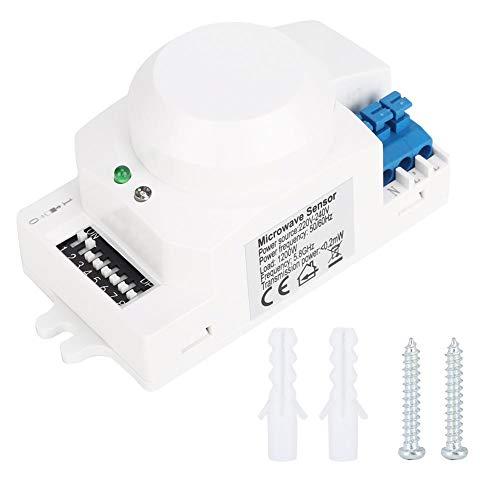Jadpes Interrupteur sensoriel, SK-600 Capteur Radar à Micro-Ondes 360 ° Détecteur de Mouvement du Corps Interrupteur d'éclairage Inductance Automatique 220-240 V pour détecteur d
