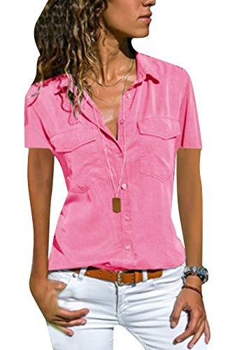 EFOFEI - Camiseta de manga corta para mujer, con bolsillos dobles, Oxford Rosa. L