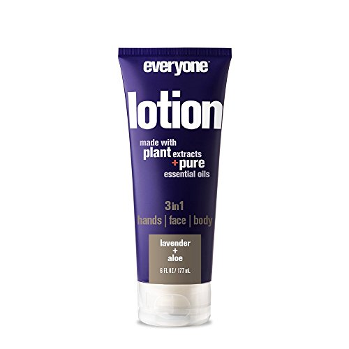 Everyone 3-in-1 Lotion for Hands/Face/Body with Natural Herbal Extracts and Essential Oils, Lavender and Aloe, 6 Fl Oz (Pack of 6)