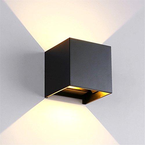 Amadoierly Lumière murale à LED étanche en aluminium mur extérieur Allée carrée ronde Noir blanc/100x100x100mm,Square,Black