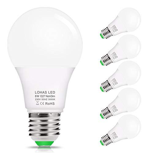 Loas E27 Ledlamp, 6 W, warmwit, 3000 K, 520 lumen, vervangt 40 W halogeen/gloeilamp, A60 ledlampen, voor badkamer en slaapkamer, niet dimbaar, 240 graden stralingshoek, verpakking van 5 stuks