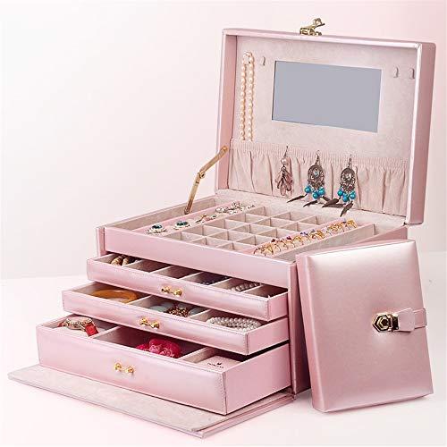 Yhjkvl - Joyero de gran capacidad, organizador de joyas con espejo de múltiples capas, con cerradura de cajón, regalo de boda, regalo de cumpleaños y organizador de joyas