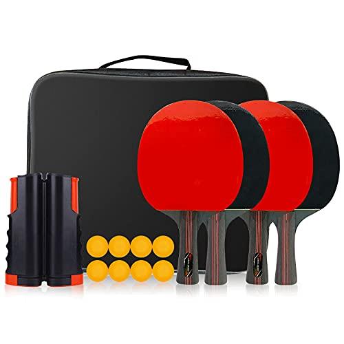 RUIXFLR Juego De Ping Pong, 4 Paletas De Ping Pong, Red Retráctil, 8 Pelotas Y Estuche De Almacenamiento Portátil, Juegos De Tenis De Mesa, Jugar En Casa, Regalo