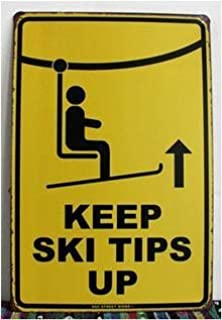 UOOPAI Tin Sign Keep Ski Tips Up Warning Metal Decor Wall Art Vintage Rustic Beach Store Bar Plaque