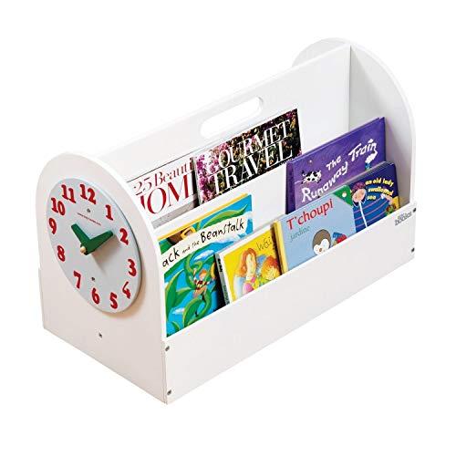 Tidy Books ® Cajon guarda libros, Mini librería infantil, Reloj de juguete, Almacenaje de libros, Madera, Blanca, 35 x 55 x 31 cm, ECO friendly, Hecho a mano, El original desde 2004
