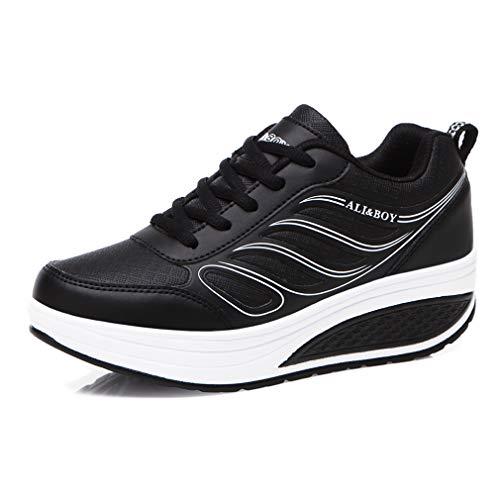 Solshine Damen Mädchen Plateau mit Keilabsatz Walkmaxx Schuhe Runners Turnschuhe Fitnessschuhe Schwarz2 37EU