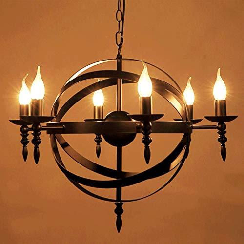 Luz de techo Lámpara colgante medieval Candelabro de vela redonda Hierro forjado Candelabro de anillo industrial vintage Lámpara de interior Lámpara de comedor Luz decorativa de estilo castillo negr