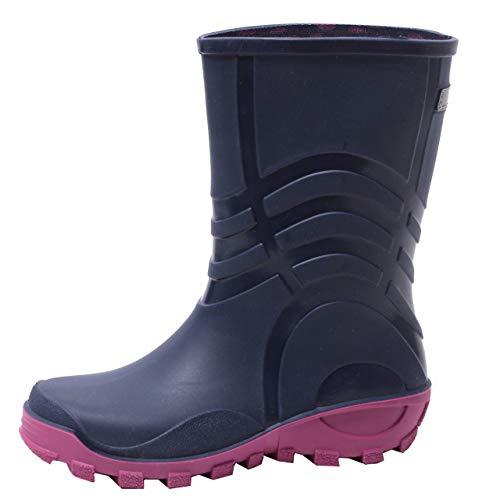 Zapato Mädchen Regenstiefel Gummistiefel Schlupfstiefel Gr. 30-37 Navy BLAU PINK (32/33 EU)