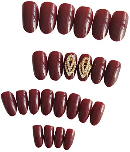Lanbowo 24pcs Faux Ongle 3D Vin Rouge Diamant Mariage False Faux Ongle Mariage Ongles Soin