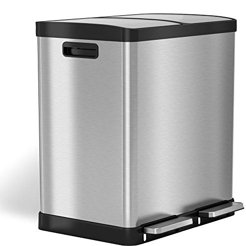 iTouchless 16 Gallon Dual Step Trash Can & Recycle, Stainless Steel Lid and Bin Body with Handle, Includes 2 x 8 Gallon (30L) Removable Buckets are Color-Coded, Soft-close and Airtight Lid