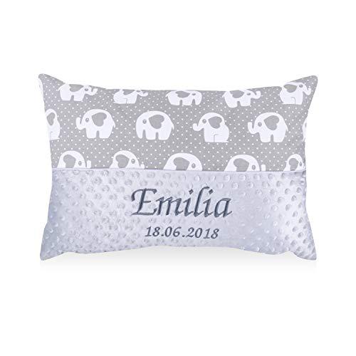 Amilian® Kissen 40 x 60 cm mit Namen Datum Elefant KLEIN Grau/Grau