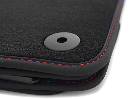 kh Teile Fußmatten Leon 3 5F Cupra ST Premium Autoteppich 4-teilig Velours schwarz, Rote Ziernaht