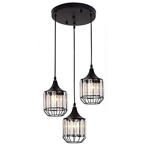 LLLKKK Lámpara de araña de cristal, moderna, minimalista, negro, metal, para restaurante, cafetería o pasillo, 3 LED, 12 x 14 cm
